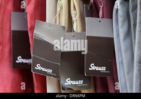 Duesseldorf, Germany. 30th Jan, 2013. The Strauss Innovation logo stands on tags in a store in Duesseldorf, Germany, - Stock Photo