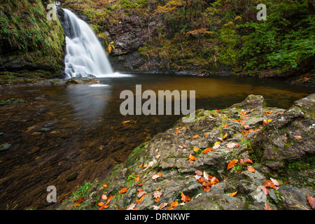 Tourmakeady Falls in autumn, Tourmakeady Woods, County Mayo, Ireland. - Stock Photo