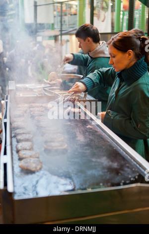Burger stand at Borough Market - Stock Photo