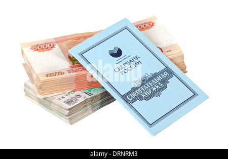 Russian rubles bills and savings book isolated on white background - Stock Photo
