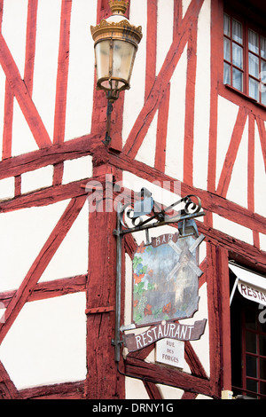 Restaurant Bar Au Moulin a Vent, the Windmill, in Rue Des Forges in the old town in Dijon in Burgundy region of - Stock Photo
