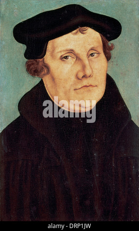 Martin Luther (1483-1546). German monk, icon of the Protestant Reformation. Portrait by Lucas Cranach the Elder - Stock Photo
