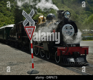 Kingston Flyer - a preserved steam locomotive in New Zealand about to start  journey with a Thomas the Tank Engine - Stock Photo