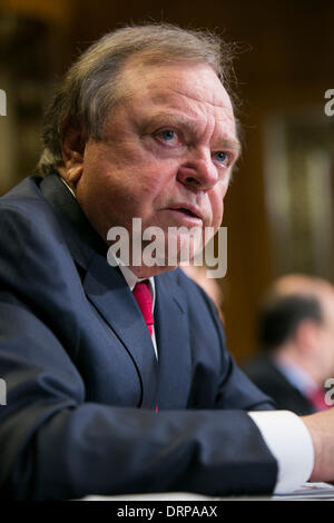 Washington DC, USA . 30th Jan, 2014. Harold Hamm, chairman and CEO of Continental Resources testifies before the - Stock Photo