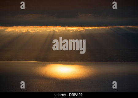 Sunset over Lac Leman, Lake Geneva, France - Stock Photo