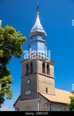 Saint Pancrace d'Yvoire church in the old district of Yvoire by Lac Leman, Lake Geneva, France - Stock Photo