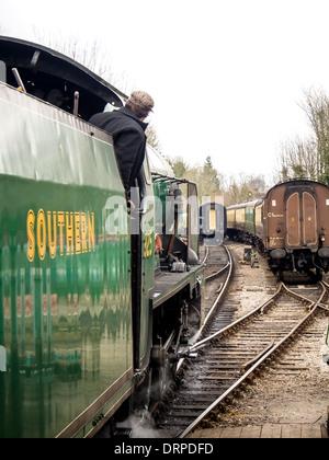 "Southern Railways schools class 4-4-0 steam engine No.925  ""Cheltenham"" on the Mid hants railway, watercress Line. - Stock Photo"