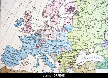 Ancient map or Europe. Handmade in 1881 - Stock Photo