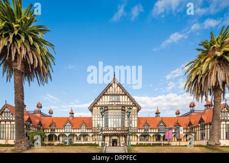 Rotorua Museum of Art and History in the former Great South Seas Spa Bath House Building New Zealand - Stock Photo