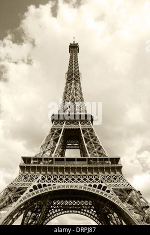 Eiffel Tower in sepia closeup - Stock Photo