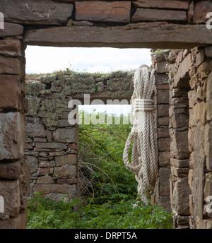 Ruined stone cottage, Inishmurray island, County Sligo, Ireland. - Stock Photo