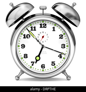 Alarm Clock about to go off. Chrome metal. Old fashioned. Close up on white background. Cut out. Almost time to - Stock Photo