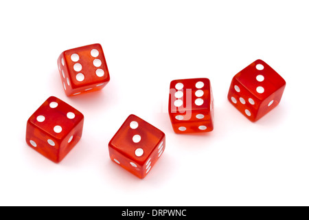 Red dice isolated on white background - Stock Photo