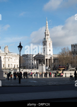 St Martin in the Fields church seen across Trafalgar Square central London UK - Stock Photo