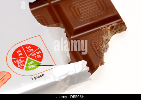 Bar of milk chocolate showing nutritional information on a 'traffic light wheel' (Sainsbury's Basic range) - Stock Photo