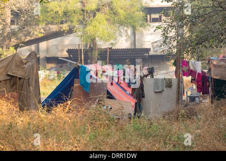 Slum housing in Ahmedabad; India; - Stock Photo