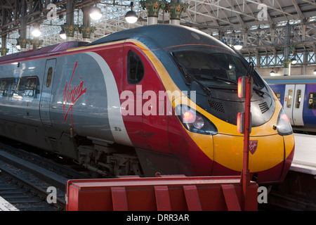 Class 390 Pendolino Virgin Train at Manchester Piccadilly Railway Station, Manchester, England, UK - Stock Photo