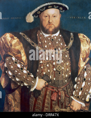 Henry VIII (1491-1547). King of England from 1509-1547. Portrait by Hans Holbein the Younger (1497-1543). Oil on - Stock Photo