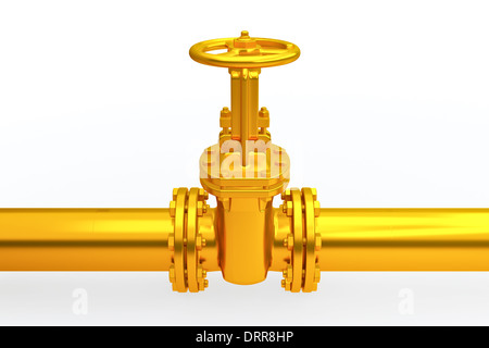 Pipeline Stopcock isolated on wihte background High resolution 3D - Stock Photo