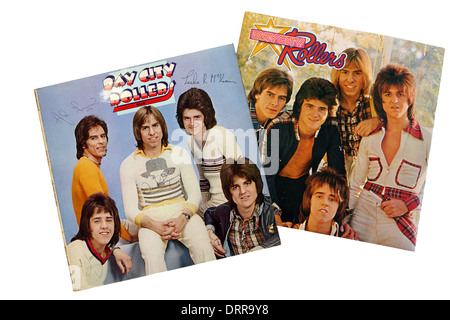 Bay City Rollers LP's on a white background - Stock Photo
