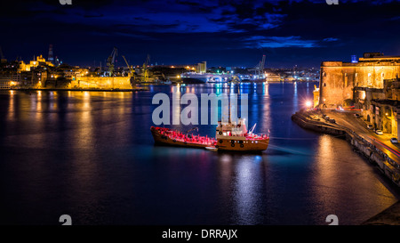 View of the Grand Harbour from Valletta, Malta. - Stock Photo