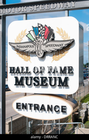 USA, Indiana, Speedway: Entrance to the Indianapolis Motor Speedway Hall of Fame Museum. - Stock Photo