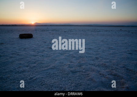 Sunset and a tyre over the salt lake near Larnaca, Cyprus, Greece - Stock Photo