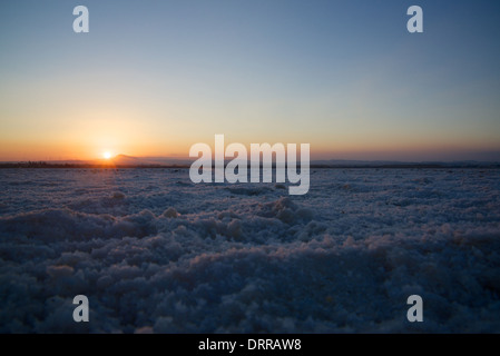 Sunset over the salt lake near Larnaca, Cyprus, Greece - Stock Photo