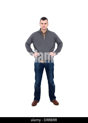 Full length portrait of man with hands on hips isolated on white background - Stock Photo