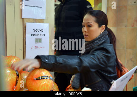 London UK, 31th January 2014: Shopper buying foods at the Supermarket in London Chinatown for the celebration Chinese - Stock Photo