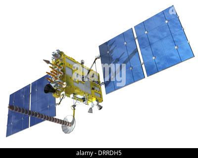 Modern navigation satellite isolated on white - Stock Photo