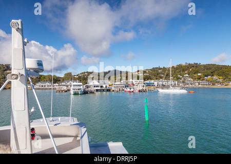 Cruising towards Paihia, Bay of Islands, New Zealand. - Stock Photo