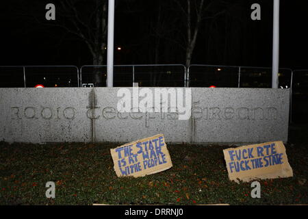Dublin, Ireland. 31st January 2014. Protesters have placed posters in front of the RTE sign. Minor scuffles between - Stock Photo
