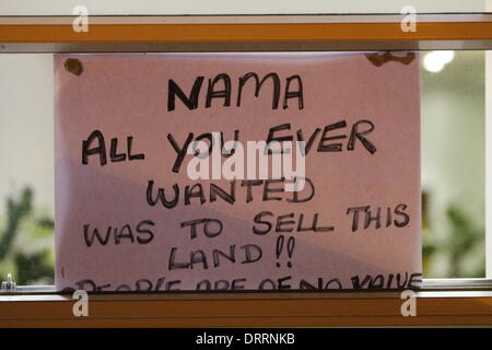 Dublin, Ireland. 31st January 2014. A sign has been put up in the window that reads 'NAMA all you ever wanted was - Stock Photo