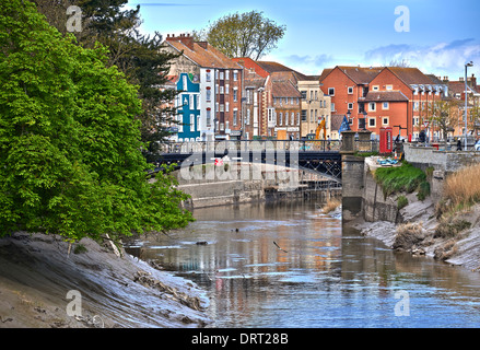 The River Parrett flows through the counties of Dorset and Somerset in South West England - Stock Photo
