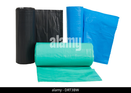 Rolls of disposable trash bags isolated on white background - Stock Photo