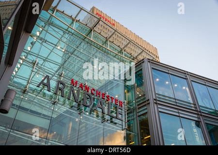 Entrance to the Manchester Arndale shopping centre in Manchester, England - Stock Photo