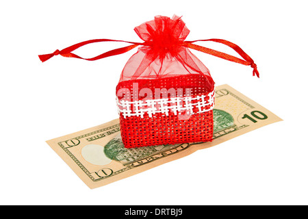 Red straw paper-bag with money. - Stock Photo