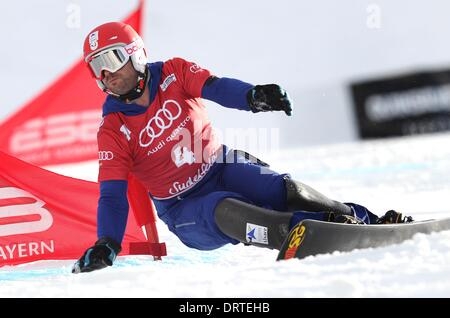 Bayrischzell, Germany. 01st Feb, 2014. France's Sylvain Dufour in action during the parallel giant slalom at the - Stock Photo
