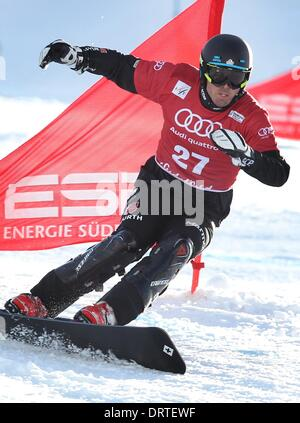 Bayrischzell, Germany. 01st Feb, 2014. Germany's Patrick Bussler in action during the men's parallel giant slalom - Stock Photo