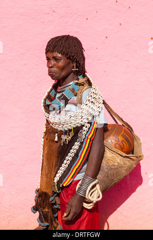 Portrait Of A Woman From The Banna Tribe, Key Afar, Omo Valley, Ethiopia - Stock Photo
