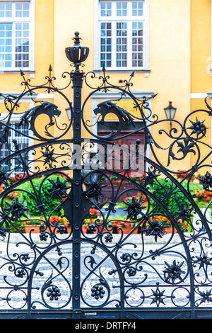 Part of the wrought iron gate in front of the Archbishop's Residence on Ostrow Tumski (Cathedral Island) in Wroclaw. - Stock Photo
