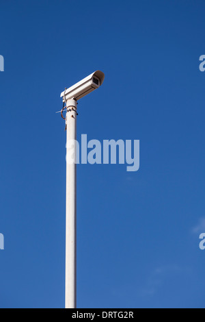 CCTV camera on top of a metal pole in Playa Paraiso, Tenerife, Canary Islands, Spain - Stock Photo