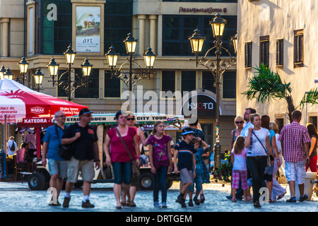 An early summer's evening in the bustling Market Place in the Old Town of Wroclaw. - Stock Photo