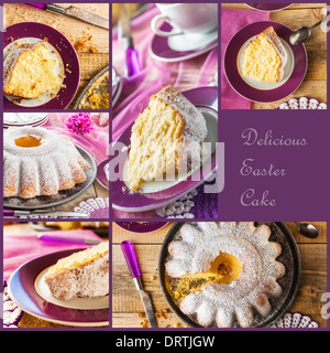 Collage of Easter cakes on a wooden board - Stock Photo