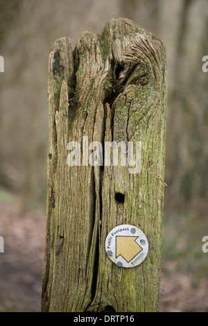 A close up photograph of a Public Footpath sign from the Worcestershire County Council which is nailed to an old - Stock Photo