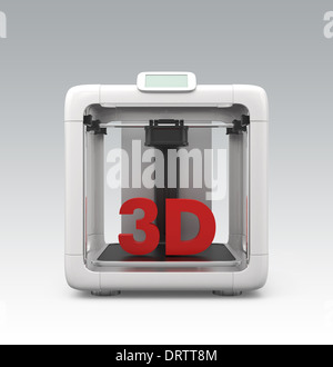 Compact personal 3D printer with red solid text (front view) - Stock Photo