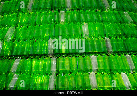 Christmas tree made from recycled plastic bottles in Arequipa city. Peru. - Stock Photo