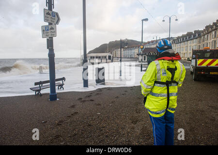 Aberystwyth Wales UK, Sunday 02 Feb  2014   Gale force winds and a 5.7m high spring tide  again brought huge waves - Stock Photo