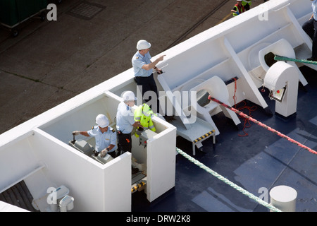 Ships crew preparing to set sail from Dover - Stock Photo